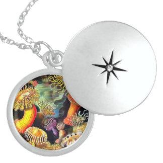 Ernst Haeckel Sea Anemones Vintage Art Round Locket Necklace