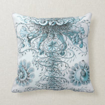 Ernst Haeckel Siphonophorae Jellyfish Bluebottle Throw Pillow