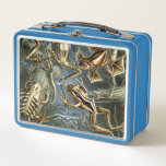 """Ernst Haeckel variety of exotic frogs:Batrachia Metal Lunch Box<br><div class=""""desc"""">Beautiful view of a Vintage illustration nature amphibian biology print by Ernst Haeckel. A variety of exotic frogs and toads climbing on trees in a tropical rainforest jungle at night.</div>"""