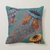 Ernst Haeckel's Disco Medusae Throw Pillow