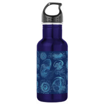 Ernst Haeckel's Leptomedusae (Dark Blue) Water Bottle