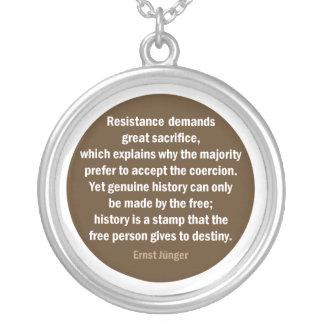 Ernst Jünger quote Round Pendant Necklace