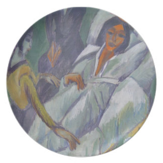 Ernst Kirchner- Woman at Tea Time Sick Woman Party Plate