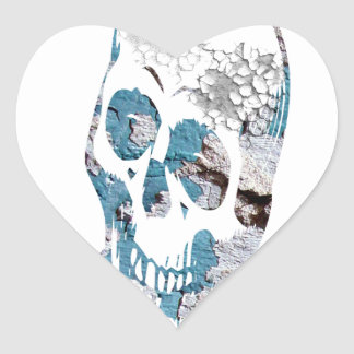 Eroded Skull with Turquoise Heart Sticker