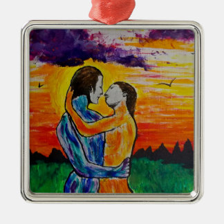 Eros and Psyche at sunset Metal Ornament