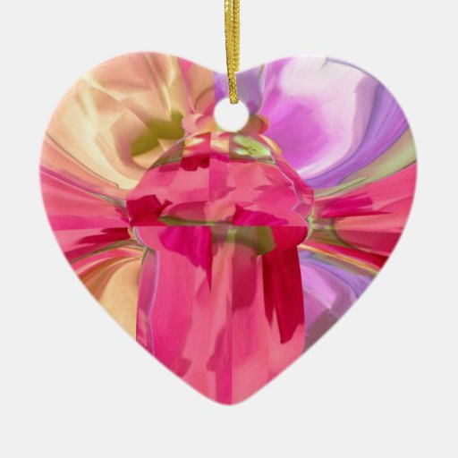 Erotic Graphic Crystal Art - Share Pleasure Double-Sided Heart Ceramic Christmas Ornament