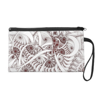"""Errant Traipse"" Red and White Spiral Fractal Wristlet Purse"