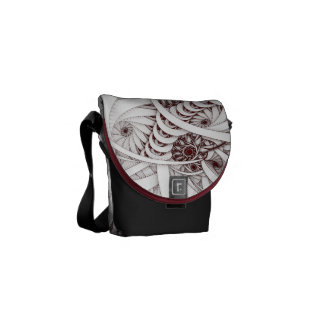 """Errant Traipse"" Red and White Spiral Fractal Courier Bag"