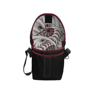 """Errant Traipse"" Red and White Spiral Fractal Courier Bags"