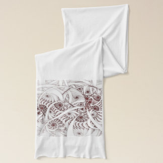 """""""Errant Traipse"""" Red and White Spiral Fractal Scarf"""