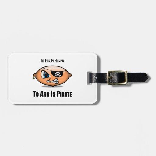 Errar es humano a Arr está el pirata Etiqueta Para Maleta