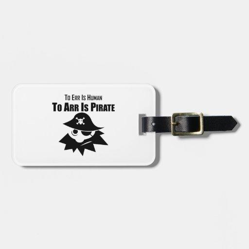 Errar es humano a Arr está el pirata Etiquetas Bolsas