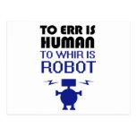 Errar es humano, girar zumbando es robot postales
