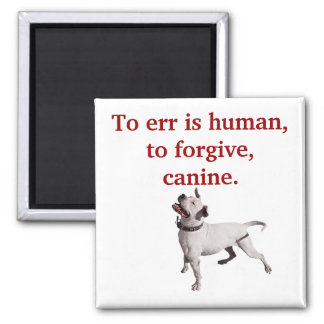 Errar es humano, perdonar, canino iman de frigorífico
