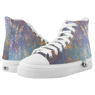 Erratic Abstract Pastel Muted Rainbow Watercolor High-Top Sneakers