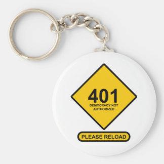 Error 401: Democracia no autorizada Llavero Redondo Tipo Pin