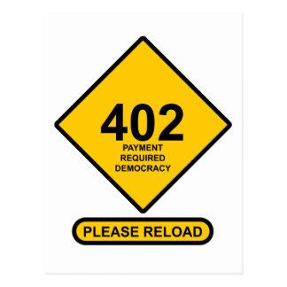 Error 402: Democracia requerida pago Postales