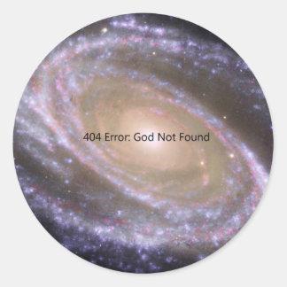Error 404: Dios no encontrado Pegatina Redonda