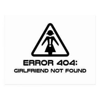 Error 404 Girlfriend Not Found Postcard
