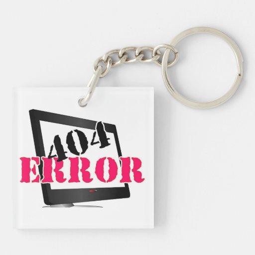 Error 404 llavero cuadrado acrílico a doble cara