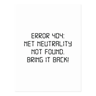 Error 404 Net Neutrality Not Found Postcard