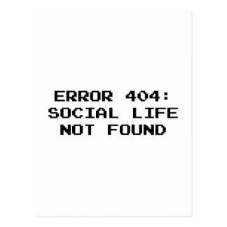 Error 404: Vida social no encontrada Tarjetas Postales