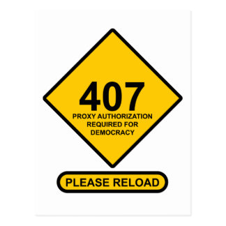 Error 407: Democracy Proxy Authentication Required Postcards