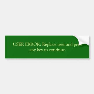 Error del usuario pegatina para auto