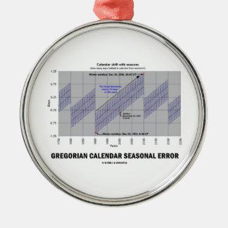 Error estacional del calendario gregoriano adorno redondo plateado