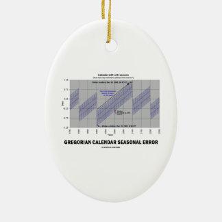 Error estacional del calendario gregoriano adorno ovalado de cerámica
