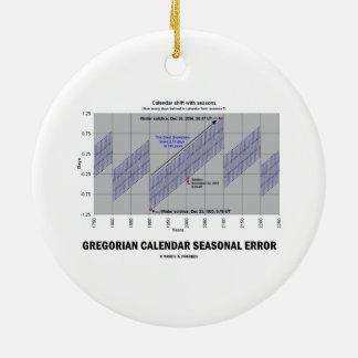 Error estacional del calendario gregoriano adorno redondo de cerámica