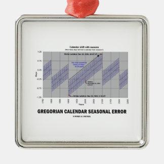 Error estacional del calendario gregoriano adorno cuadrado plateado