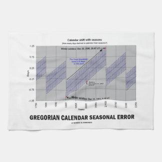 Error estacional del calendario gregoriano toallas de cocina