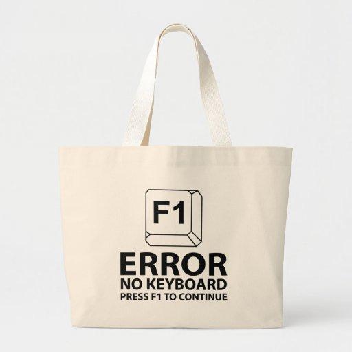 Error ninguna prensa F1 del teclado a continuar Bolsas