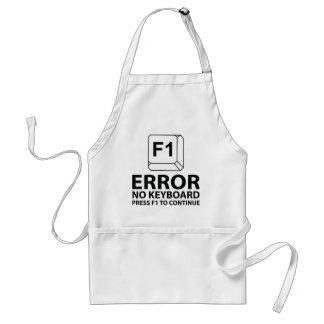 Error ninguna prensa F1 del teclado a continuar Delantal