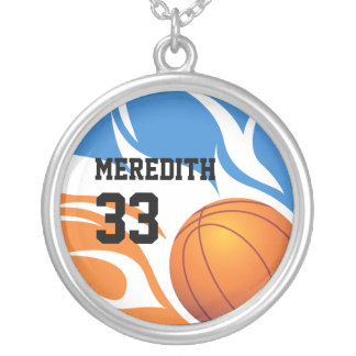 ersonalised Flaming Basketball Blue and Orange Silver Plated Necklace
