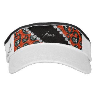 ersonalized name neon orange glitter paisley headsweats visor