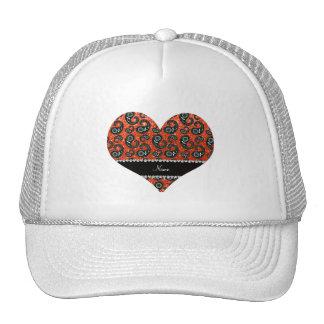 ersonalized name neon orange glitter paisley trucker hat