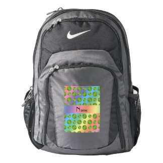 ersonalized name rainbow tennis balls pattern backpack
