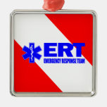 ERT - Equipo de la respuesta de emergencia Adorno Navideño Cuadrado De Metal