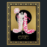 """Erte Art Deco Flamboyant Poster<br><div class=""""desc"""">I have brightened and framed this Erte Illustration with Art Deco Style background to make this lovely stylish poster. A lot of Erte's work is flamboyant, elegant and unique. This would make a great addition to your home, especially if you love Art Deco. You could frame this or choose a...</div>"""