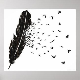 Erupción de los pájaros de una pluma póster