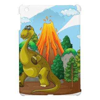 Erupción del dinosaurio y del volcán