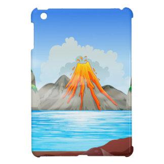 Erupción del volcán en el lago