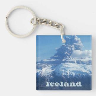 Erupción islandesa del volcán llavero cuadrado acrílico a doble cara