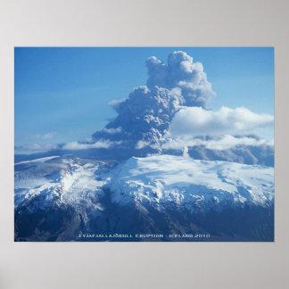 Erupción islandesa del volcán póster