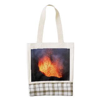 Erupting active volcano: hot lava flow in crater zazzle HEART tote bag