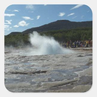 Erupting geyser in Iceland Square Sticker