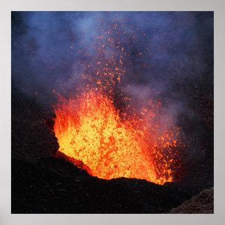 Eruption active volcano - hot lava flow in crater poster