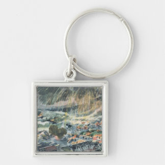 Eruption of a Volcano on Martinique Keychains